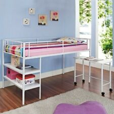 Twin Loft Bed with Desk and Shelves in White