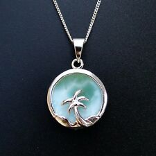 100% 925 Sterling Silver Natural Larimar Coconut Palm Tree Necklace Pendant