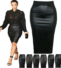 WOMENS WET LOOK FAUX LEATHER PENCIL WIGGLE BODYCON WAISTED PLUS MIDI SKIRT wtmdi