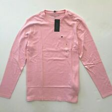 NWT Tommy Hilfiger Men's Essential Long Sleeve Pink Crew Neck T-shirt All Sizes
