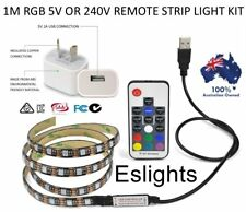 1M 240V OR 5V RGB LED STRIP LIGHT COLOUR USB KIT BACKGROUND LIGHTING TV LAPTOP