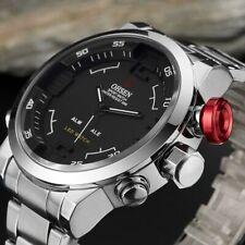 Montre Acier Inoxydable Quartz Hommes Bracelet de Montre Noir Argent