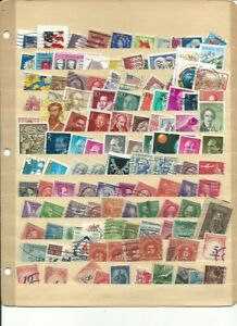 USA & WORLD 120 used stamps (no duplicates) Some ON paper! FREE USA SHIPPING!