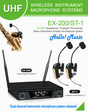 Uhf 2 Dual Channel Professional Wireless Microphone System for Saxophone Trumpet