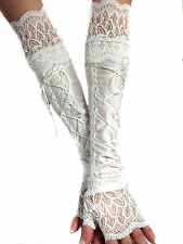 WHITE LACE UP XX LONG SPANDEX FINGERLESS GLOVES CUFFS ARM WARMERS