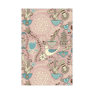 Pink Little Animal And Foods Printed Dinning Room Faux-Leather Padded CNK2125