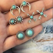 Gift Stud Earrings Set Turquoise Flower Curved Crescent Moon  Natural Stone