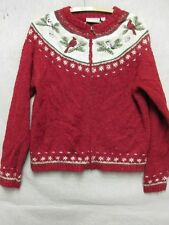 Z4253 Croft & Barrow womens red zip up sweater with bird patterns size S.