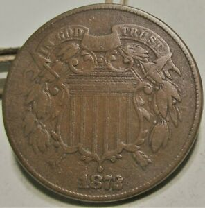 1872 TWO CENT PIECE 2C **VF+** RARE US COIN.