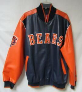 Chicago Bears Mens Size X-Large Faux Leather Jacket DAMAGED B1 432