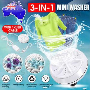 3IN1 Mini Portable Ultrasonic Turbine Washing Machine Spin Dryer Laundry Washer