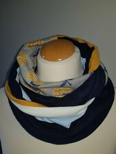 "Jacquard-sweat-Jersey-Loop-Scarf-Schal "" Wintertraum in blau-senf-curry-creme """