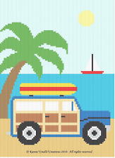 Crochet Patterns - WOODY CAR with SURFBOARD Beach/Nautical Baby Afghan PATTERN