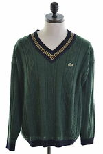 LACOSTE Mens V-Neck Jumper Sweater Size 7 XL Green Acrylic