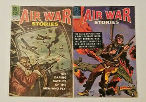 AIR WAR STORIES #1 & #4 Behind German Lines! Dell Comic Book ~ FN Lot of 2