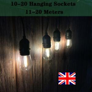 11-20m Mains Powered Warm White LED Bulb Waterproof Festoon String Lights Chain