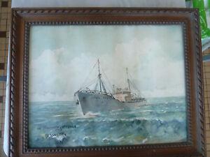 Aquarelle tableau de marine sous verre signée Messager, fin années 50