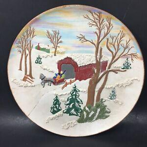 """Christmas Winter Scene Covered Bridge Sled Vtg Ceramic Wall Plaque 13"""" signed"""