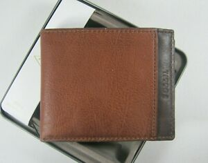Fossil TYLER Bifold Men's Leather Wallet Brown New NIB