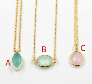 Chalcedony Gold Plated Special Necklace Gift For Mothers Day 925 Sterling Silver