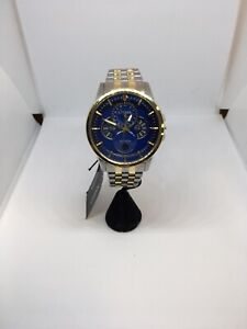 Citizen Men's Eco-Drive Calendrier Chronograph Two-Tone Watch with Blue Dial BU0
