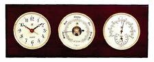 """GLOUCESTER"" CLOCK, BAROMETER & THERMOMETER / HYGROMETER ON MAHOGANY BASE"