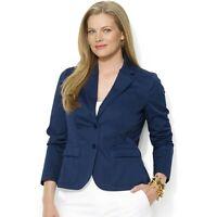 NWT Ralph Lauren Women's Size 14 Navy Blue 2 Button Cotton Twill Blazer Jacket