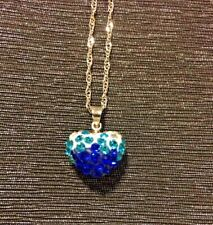 Blue Ombre Shambella Heart Necklace