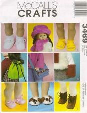 """Pattern Sewing McCalls Girl fits 18"""" inch Doll Shoes Hat Scarf Mittens"""