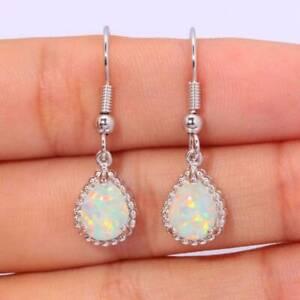 Women Silver Plated White Fire Opal Drop Dangle Earrings for Wedding Jewelry