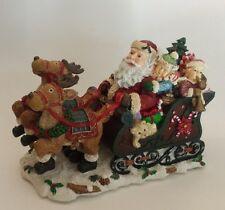 Santas Sleigh Music Box Christmas Figurine Reindeer HERE COMES SANTA CLAUS Resin