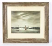 1966 Painting Sailboats Under Darkening Skies Shirley Jasper Madison Wisconsin