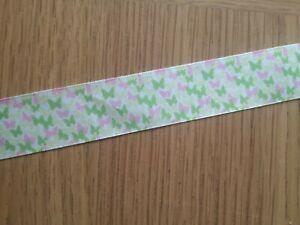 1 Metre x 2.5 cms , Ribbon, Green and Pink Butterflies