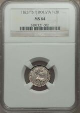 BOLIVIA SPANISH COLONIAL FERDINAND VII  1823-PJ 1/2 REAL COIN CERTIFIED NGC MS64