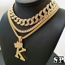 "Hip Hop Quavo Choker 16"" Full Iced Cuban & 1 ROW DIAMOND CHAIN & ""K"" Necklace"