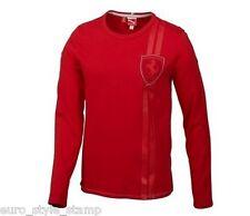 new PUMA men's FERRARI LS TEE rosso corsa M graphic long sleeve red shirt F1 SF