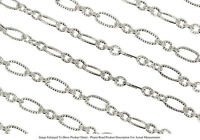 Sterling Silver Plated 6.7mm Long and Short Link Chain Textured Sold by the Foot