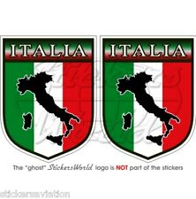 "ITALIE Italia Italien Bouclier 75mm ( 3 "" ) Autocollant Stickers x2"