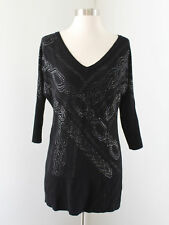Cache Black Studded Sequin Pullover Sweater Size M 3/4 Sleeve Cutout Back