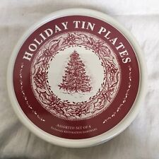 Holiday tin plates by Restoration Hardware set of 4 - Christmas 2003