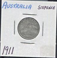 AUSTRALIA - BEAUTIFUL HISTORICAL GEORGE V SILVER SIXPENCE, 1911 (L), KM# 24