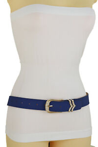 Women Classic Look Belt Blue Faux Leather Gold Bling Metal Buckle Fit Size S M