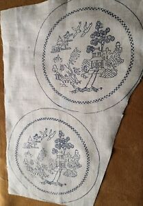 """VINTAGE STAMPED LINEN """"WILLOW PATTERN"""" MATS Ready to Stitch"""