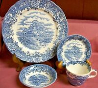 Plate Bowl Cup & Saucer Vintage BLUE Olde Staffordshire