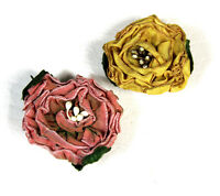 Vintage Ribbon Flower Button Covers 1940s 1950s Cute Set of 2 Pink Yellow