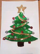 Sequin Net Christmas tree Santa xmas hotfix lace applique motif patch Yule