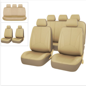 9PCS Car Seat Covers PU Leather Front & Rear Full Set Universal for 5-Seats Cars