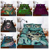 3D Colorful Alien Octopus Skull Duvet Cover Quilt Cover Bedding Set Pillowcase