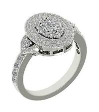 1.50 Ct 14K White Gold 14.80 Mm Right Hand Round Ring Natural Diamond Si1 G
