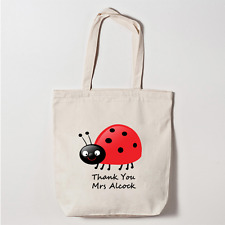 Personalised Canvas Tote Bag Thank You Teacher Ladybird School Leaving Gift Idea
